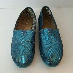 Toms Women's Slip-On Shoes Metallic Aqua Green 8W